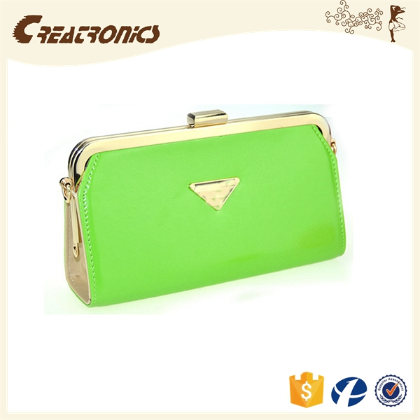 CR USA market expert recommend shining pu surface long chain lady lock wallet green fashion noble coin sorter purse