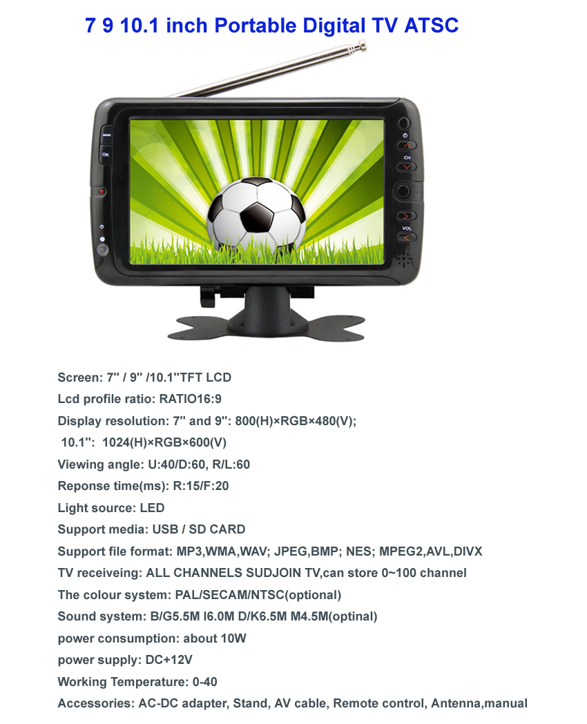 New Arrival 7 9 10 inch Popular ATSC Cheap Car LCD TV 12v 24v,Mini Digital Portable Satellite TV