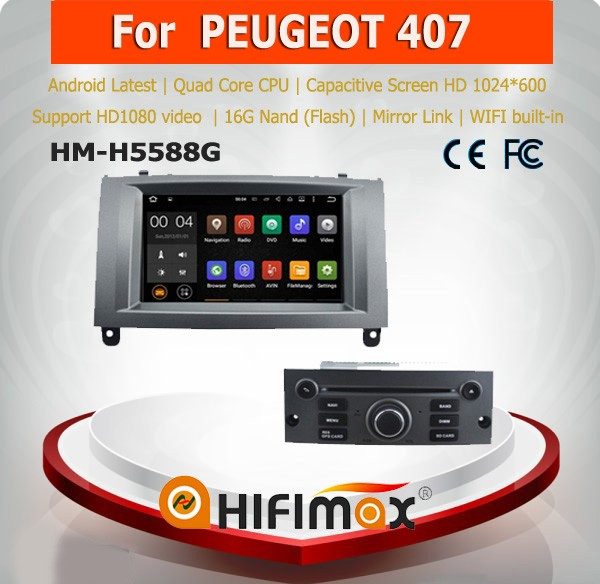 Android 5.1.1 Hifimax 2 din car dvd peugeot 407 car dvd player for peugeot 407 car radio navigation system peugeot 407 gps