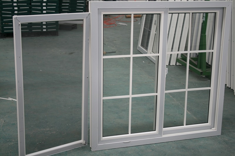 Customized 80 series glass sliding plastic window pane with mosquito screen
