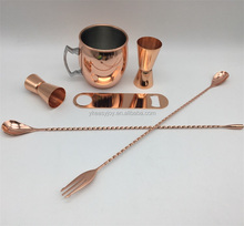 6PCS 500ml Stainless Steel Copper Plated Moscow Mule Drinks Mug Set+Double Jigger+Mixing Spoon&Trident+Blade Bottle Opener+Logo