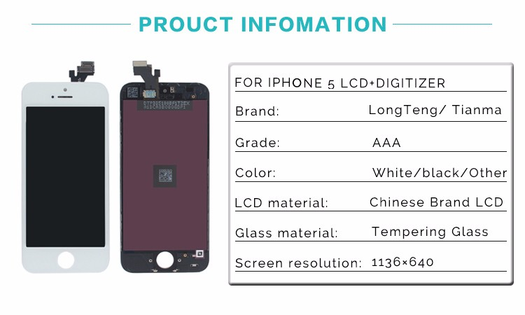 2016 Factory Supplier 1136*640 Lcd Screen Digitizer Assembly Lcd Screen For Iphone 5