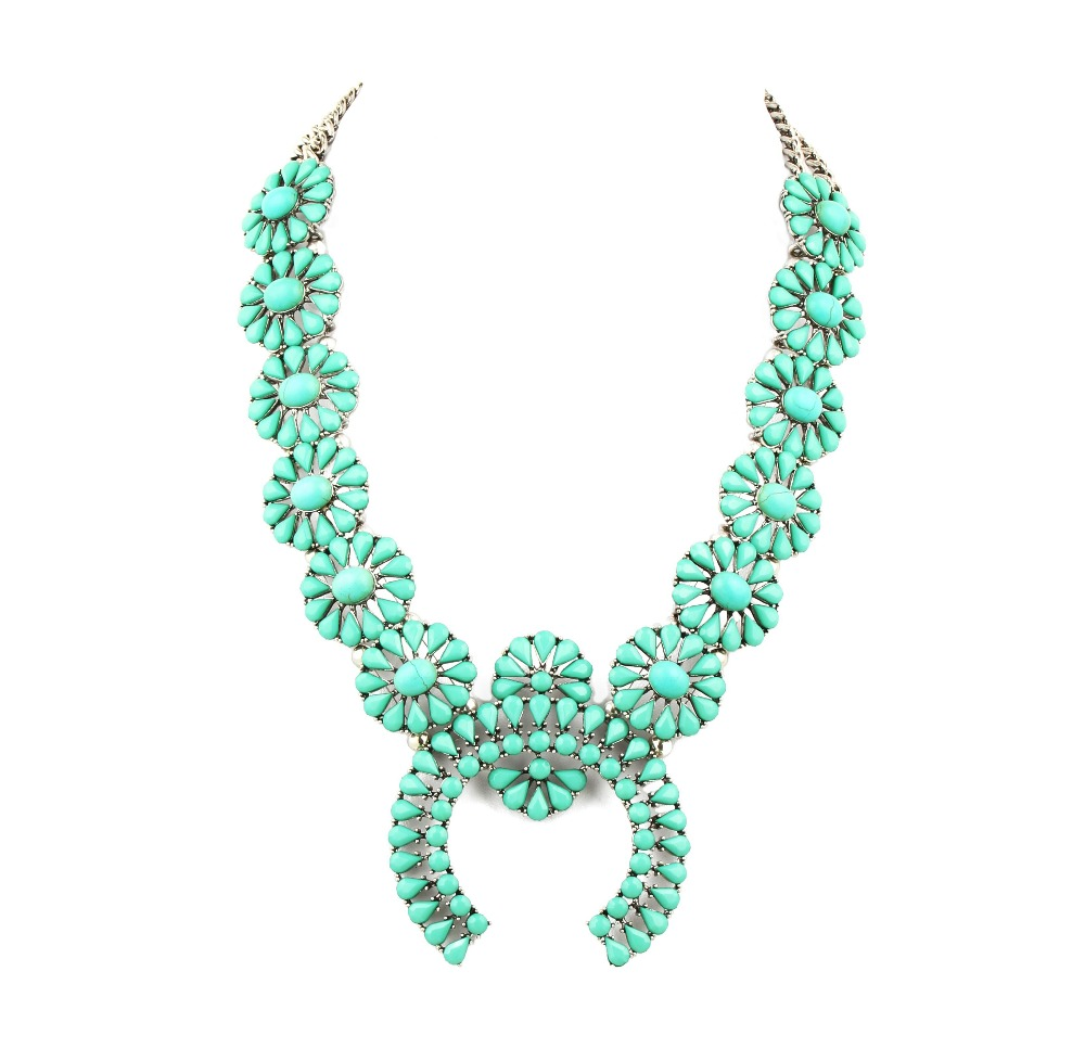 high quality turquoise squash blossom necklace latest design necklace jewelry best selling women necklace