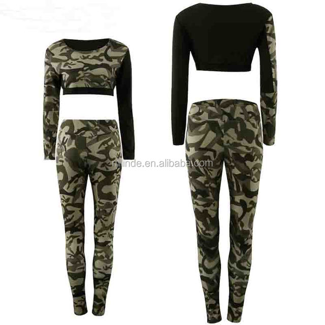 Cheap Wholesale Designer Fitness Camouflage Printed Tracksuit 2 Pieces Short Tops Long Bodycon Pants Sexy Casual Women's Set