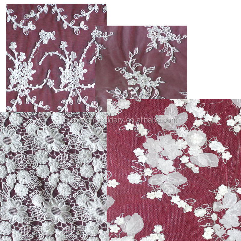 2015 wedding fabric lace/embroidery lace with applique flowers