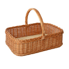 New product Square wicker Storage tray with handle L51cmxW38cmxH13cm/ Handle height 25cm