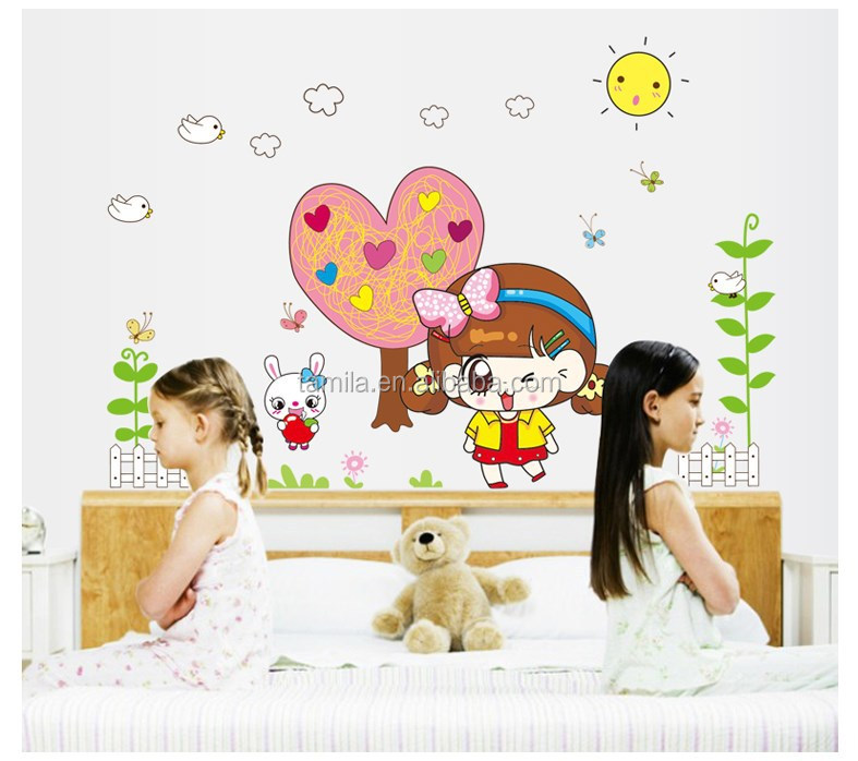 DIY Vinyl Removable Cute Princess the Giving Tree Wall Stickers Living Room Kids Bedroom home decoration