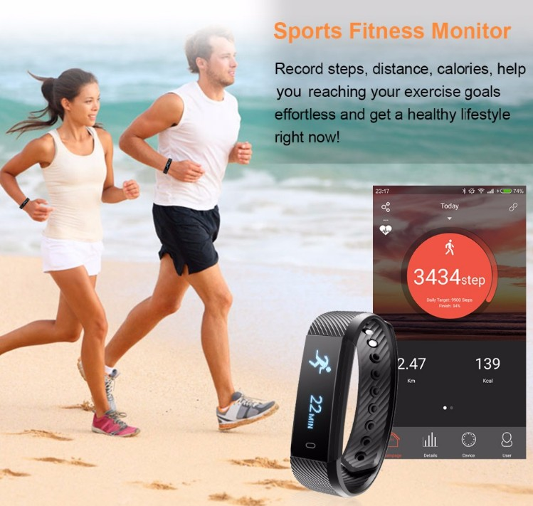 Bluetooth 4.0 Fitness Activity Tracker Smart Wristband Pulsera Inteligente heart Bracelet ID115
