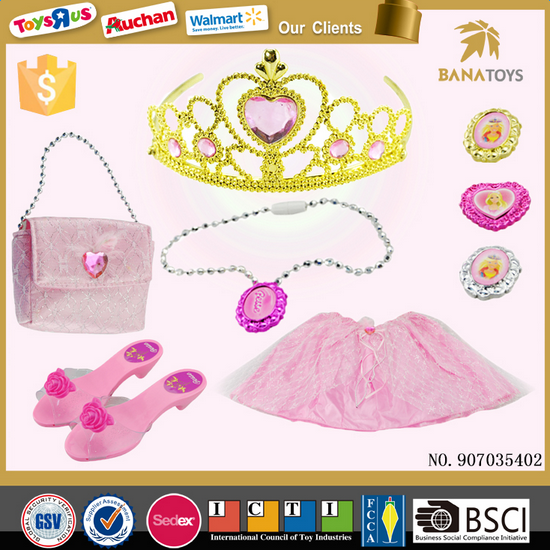 Top sale pink dress Crown necklaces kids toys hot girl dress games