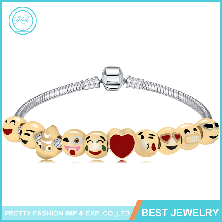 E1 New Products 2017 Wholesale Fashion Jewelry Beads Charm Bracelet Emoji Bracelets
