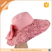 Beach Caps Floppy Wide Brim Sun Hat Foldable with bow for Women Autumn-summer