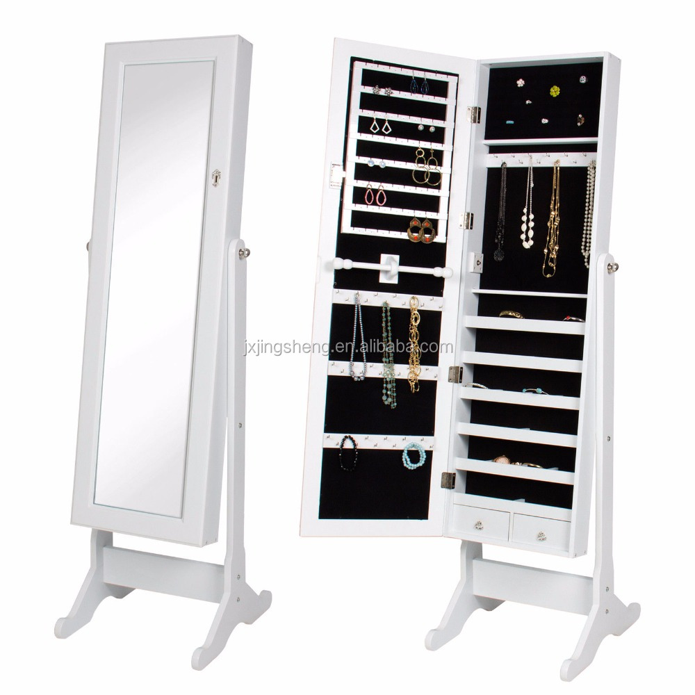 Glass Lockable Full-Length Mirrored Floor Standing Jewelry display Cabinet in the living room