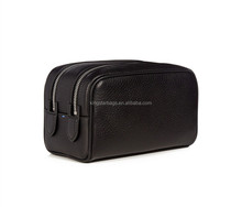 Lightly grained soft deerskin metal double top-zip fastening wash bag