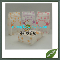 Clear matte resealable flat bottom gift packing plastic bag with colorful design
