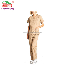 Cheap Mock Wrap Bushed Cotton Spa Uniform