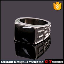 Cool design zinc alloy Silver Black men's ring ,large black diamond metal ring for men