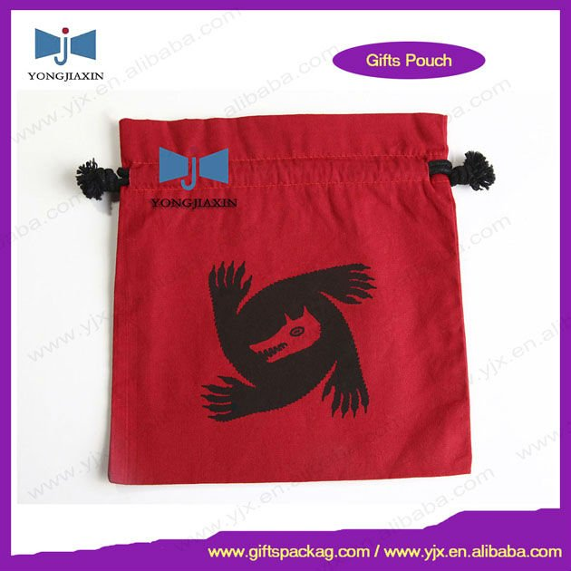 red cotton drawstring bag with logo used in packaging toy
