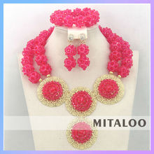 Mitaloo MT0003 Pink Nigeria Beaded Jewelry Set Bridal Heavy Indian Necklace Jewelry Set For Wedding