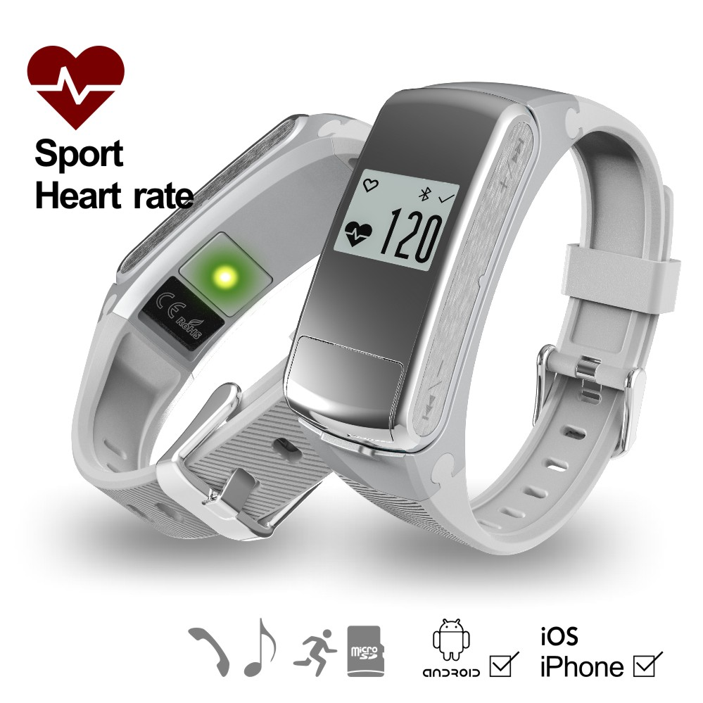 Factory for wholesale price heart rate monitor smart band compatible with ios tracker bracelet, vibrating alarm clock wristband