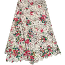 White Printing Flower Guipure Cord Lace Dress Wholesale Water Solution Milk Silk Fabric Nigerian Swiss Cotton Lace Material 869