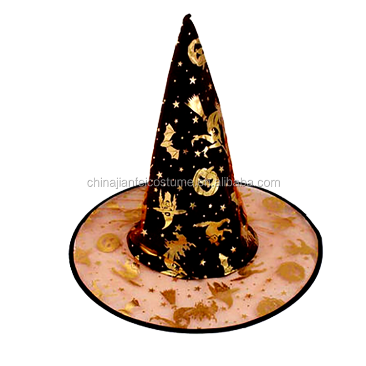 Halloween Black Two layers Gauze Witch Hat