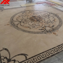 Colored marble tile floor waterjet medallion design pictures