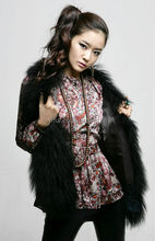 YRFUR YR051 Cool Style Mongolian Sheep Fur Cropped Vest Women/Hot Sale Tibet lamb Fur Vest