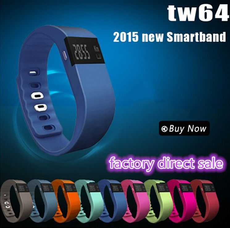 2016 Newest Tw64 Smart Band Sport Bracelet Wristband Fitness Tracker Bluetooth 4.0 For iPhone 6 5 5S Ios Android