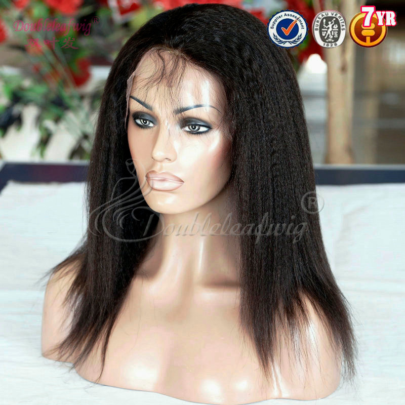 Full Lace Human Hair Kinky Straight Brazilian Virgin Hair Wigs For Black Women Glueless Lace Front Wigs
