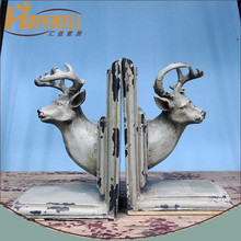 new product resin bookstand , rustic deer head bookend
