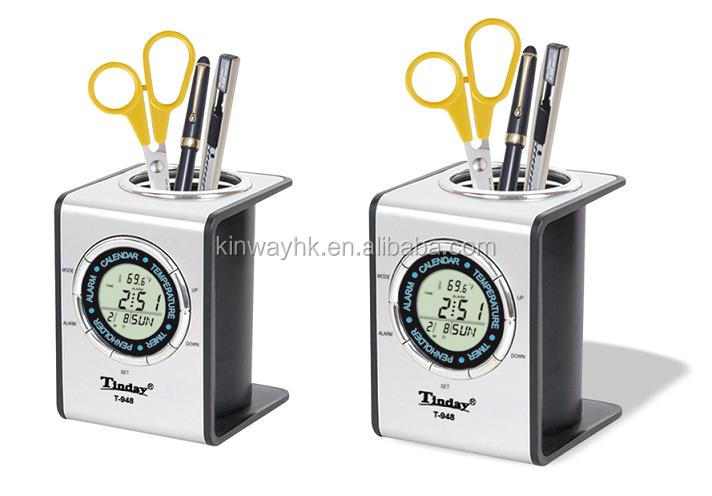 export multi- function digital stationery desk clock pen holder