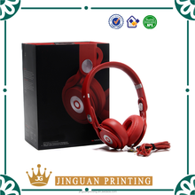 Luxury black cardboard paper packaging customized printing clear window headphone box