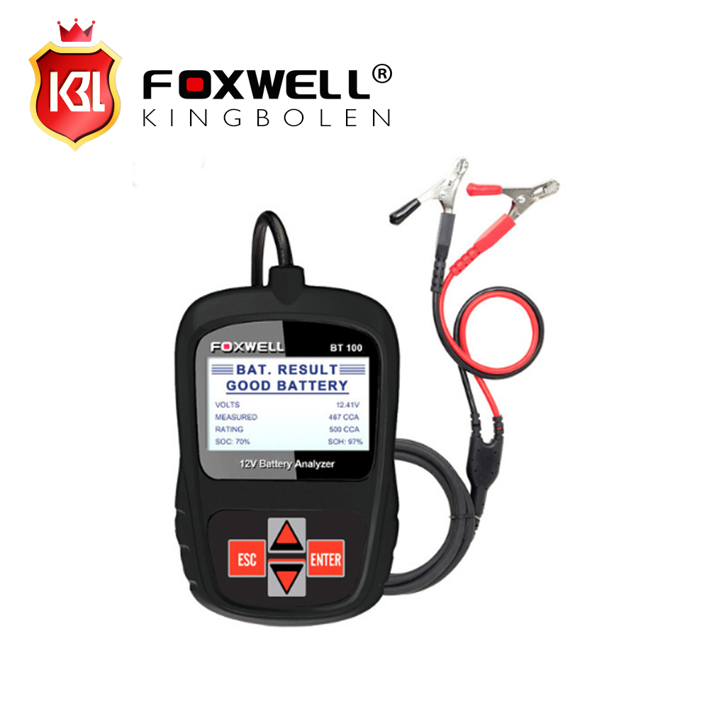 2017 Original FOXWELL BT100 12V Car Battery Tester for Flooded, AGM, GEL Original BT 100 12 Volt Battery Analyzer