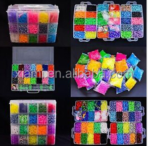 2016 300/600/2400/3600/4200/5400/12000/15000/20000pcs per box available silicone rainbow diy loom band