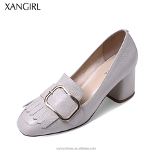Newest pump square toe thick heel women shoes