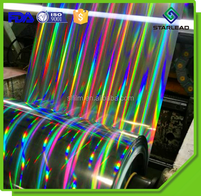 High Quality PET Holographic Metallized film Holographic Rainbow Film Seamless Rainbow Holographic PET Film for Lamination