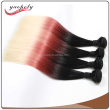 8A Cheap Three Colors Mixed Color Straight Synthetic Hair Weave Extension