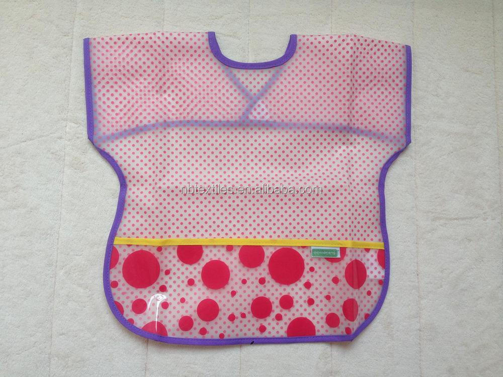 2014 OEM disposable waterproof soft plastic baby bib with pocket