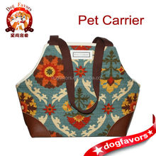 Dog Carrier Modern Floral Damask Print Yellow Teal Orange Khaki Olive Brown Pet Tote Bag Carrier global pet product dog carrier