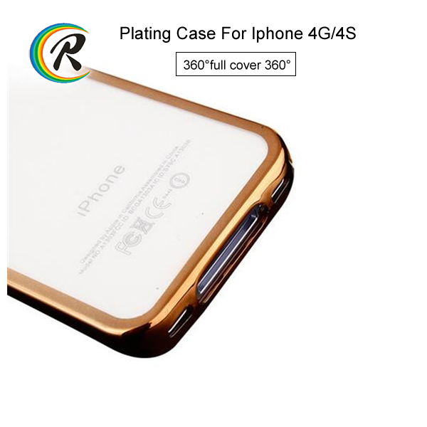 Wholesale hard electroplating shell case for iPhone 4 4S flexible plating tpu rubber skin shell