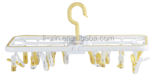 plastic folding clothes drying rack/clotheshorse/Clothes-peg/Clothespin/Clip/Hack/Clotclothes hanger/18pegs