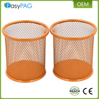 EasyPAG 2 Pcs 3.5 inch Round Metal Mesh Steel Pen Pencil Holder