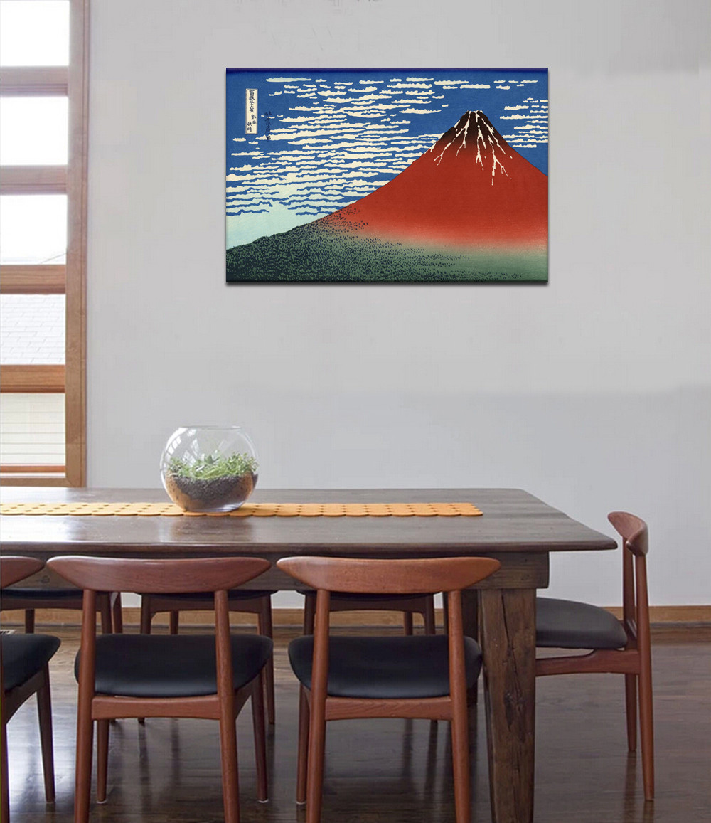 Wholesale Red Fuji Mountain Painting Canvas Print Japanese Landscape Canvas Printing Living Room Decoration