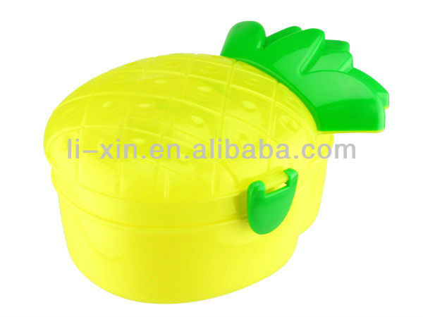 Pineapple shaped plastic lunch box wih spoon/Fruit shaped lunch box/gift/Promotional products