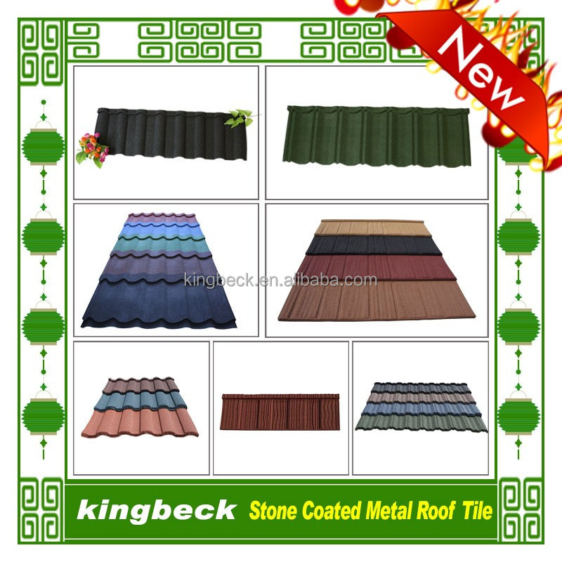 Popular Roofing Materials Kingbeck Stone Coated Metal Roof Tile Paint
