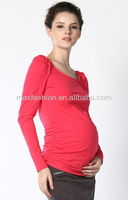 Red simple Long T Shirt For Maternity