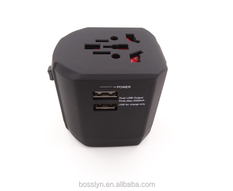 Popularly Universal World Travel Charger Adapter Plug With Dual USB Surge Protector US/UK/AU/EU