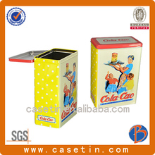 rectangular metal cookie tin cans with hinged step lids