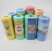 Colorful Disposable Pre-cut Kitchen Dish Clean Wiper In Roll