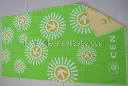 High quality thickness 3 colors woven jacquard terry veour beach towel bath towel